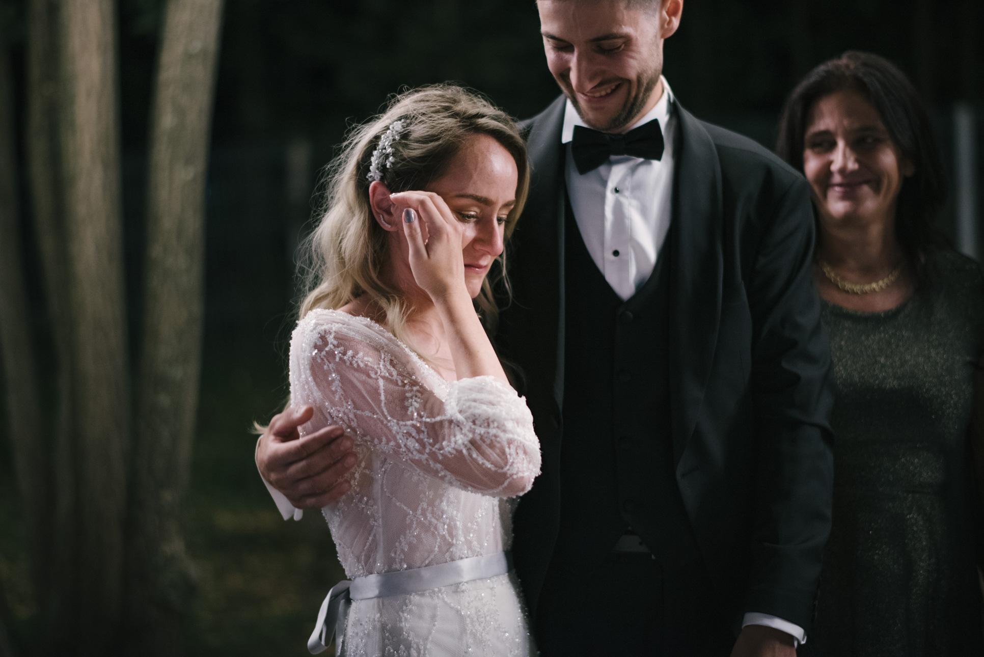 Bride into tears